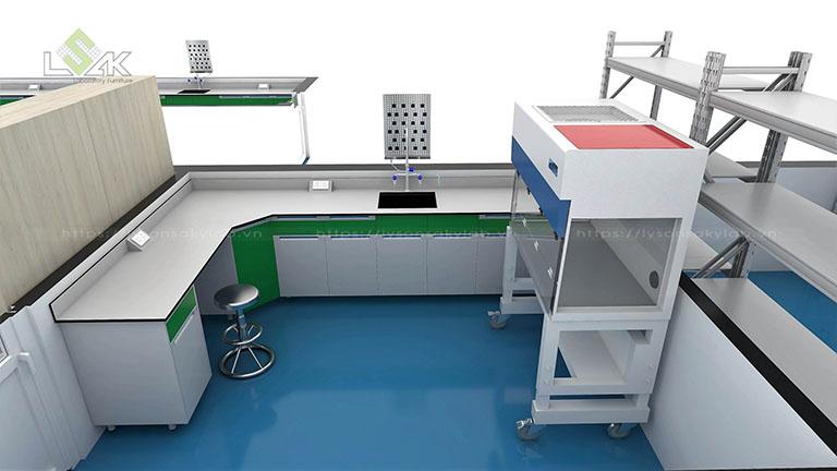 Tủ cấy vi sinh nội thất phòng lab nhà máy nước giải khát