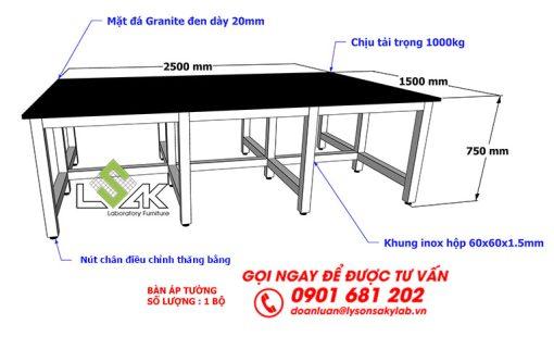 Kích thước bàn đặt máy thí nghiệm chịu tải trọng lớn