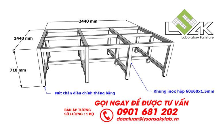 Kích thước bàn đặt máy thí nghiệm chịu tải trọng nặng
