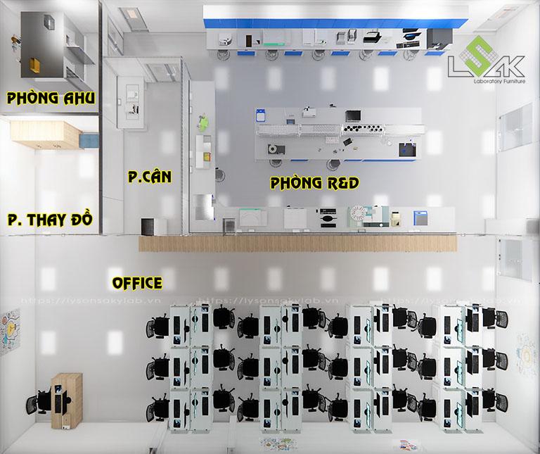 Phối cảnh 3D thiết kế phòng R&D dược phẩm, mỹ phẩm