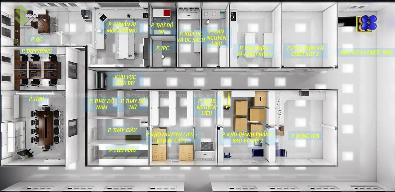 Phối cảnh 3D thiết kế phòng thí nghiệm nước hoa Life Essence