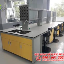 Bàn thí nghiệm trung tâm có giá kệ để dụng cụ nội thất phòng thí nghiệm Trung tâm nghiên cứu và Phát triển Nông nghiệp Công nghệ cao