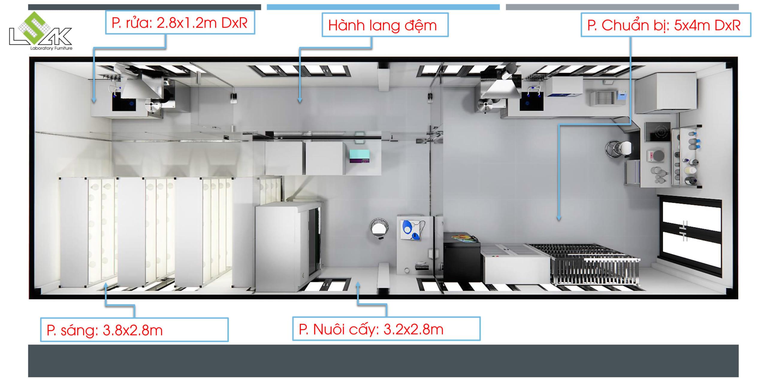 Phối cảnh 3D thiết kế phòng nuôi cấy mô