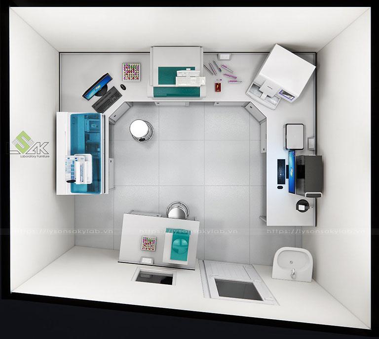 Phối cảnh 3D thiết kế phòng xét nghiệm diện tích 15m2