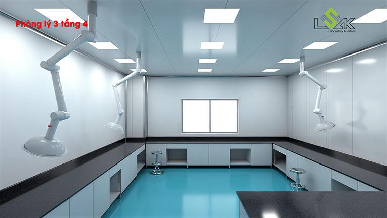 Bàn thí nghiệm trung tâm thiết kế phòng lý phòng lab dược phẩm Savipharm