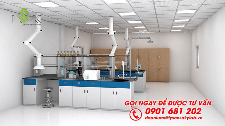 Bàn thí nghiệm trung tâm có kệ hóa chất phòng lab QC nhà máy sản xuất sơn