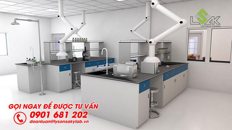 Thiết kế bàn thí nghiệm trung tâm phòng thí nghiệm nhà máy Sản Xuất Sơn