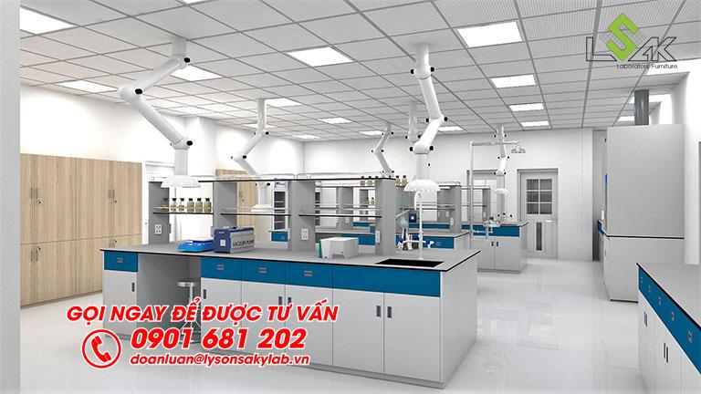 Bàn thí nghiệm trung tâm thiết kế phòng thí nghiệm nhà máy Sản Xuất Sơn