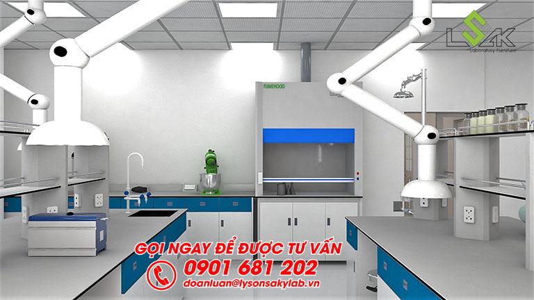 Tủ hút khí độc thiết kế phòng thí nghiệm nhà máy Sản Xuất Sơn