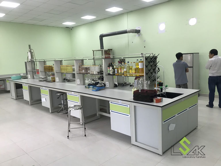 Bàn thí nghiệm trung tâm có bồn rửa phòng thí nghiệm công ty cổ phần dầu thực vật Tân Bình