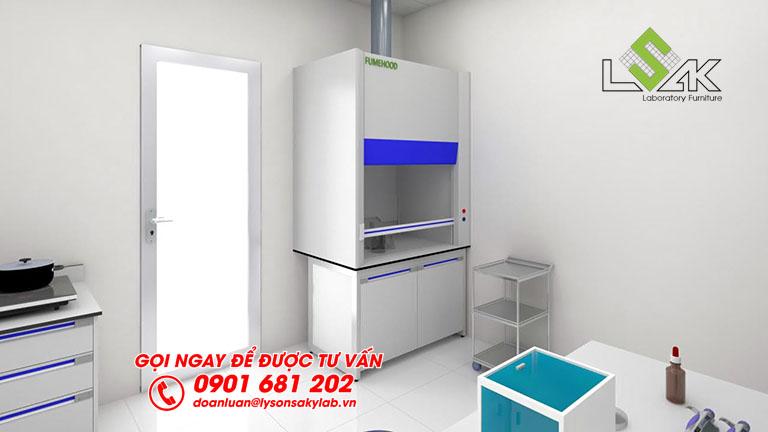 Tủ hút khí độc thiết kế phòng lab nhà máy sữa Dalat Milk