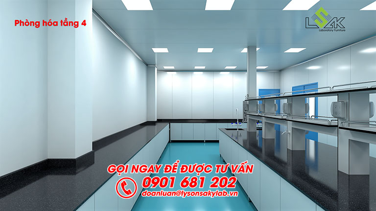 Thiết kế bàn thí nghiệm trung tâm phòng hóa phòng lab dược phẩm Savipharm