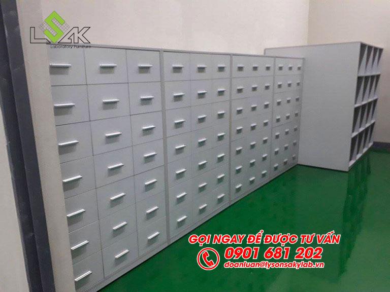 Tủ lưu mẫu phòng thí nghiệm nội thất phòng QC nhà máy Kolon Industries Việt Nam