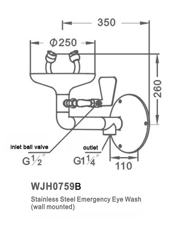 Bản vẽ kích thước bồn rửa mắt khẩn cấp gắn tường