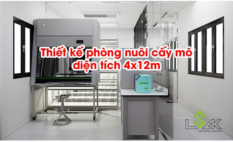 Thiết kế phòng nuôi cấy mô diện tích 4x12m