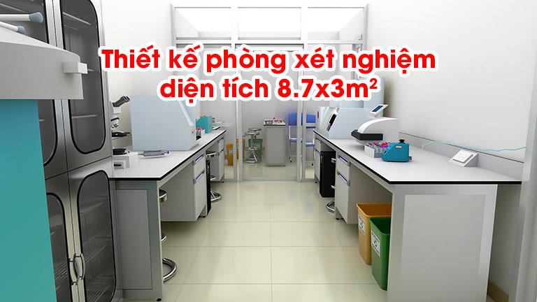 Thiết kế phòng xét nghiệm diện tích 8.7x3m