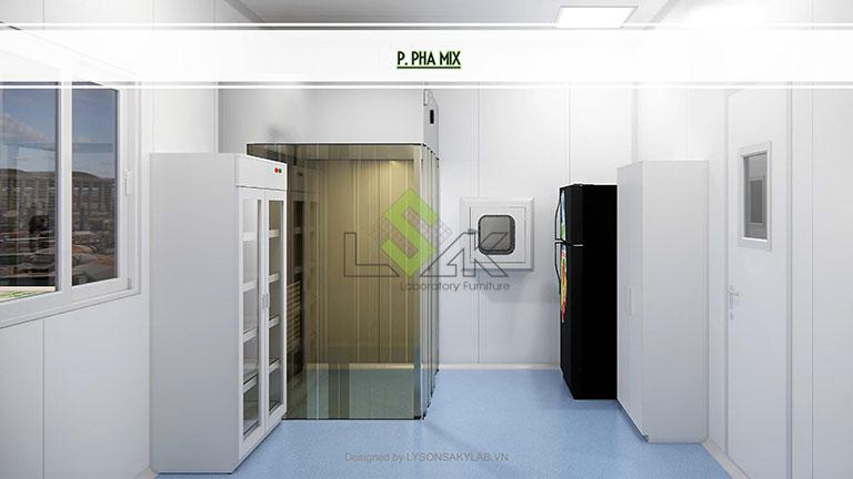 Phối cảnh 3D phòng pha mix thiết kế phòng thí nghiệm sinh học phân tử