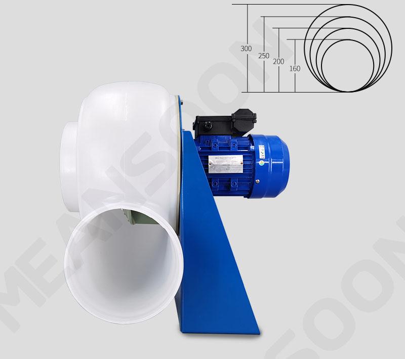 Đầu vào / ra có dạng tròn với kích thước tiêu chuẩn: 160, 200, 250, 300 dùng tốt cho việc kết nối ống nhựa.