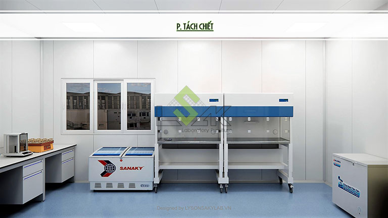 Phối cảnh 3D phòng tách chiết thiết kế phòng thí nghiệm sinh học phân tử