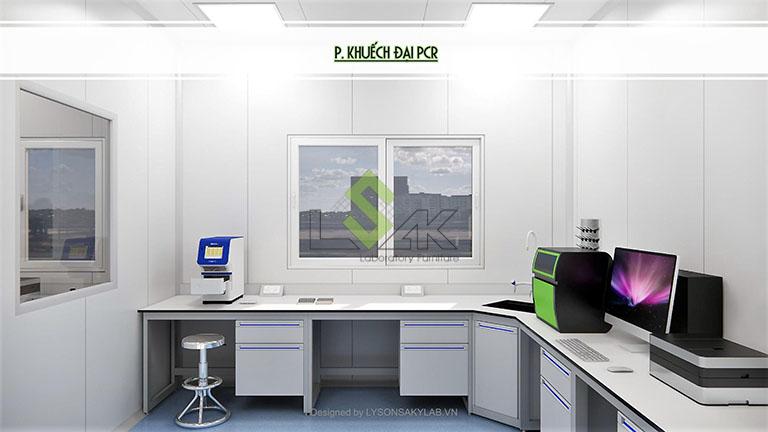 Phối cảnh 3D phòng khuyếch đại PCR thiết kế phòng thí nghiệm sinh học phân tử