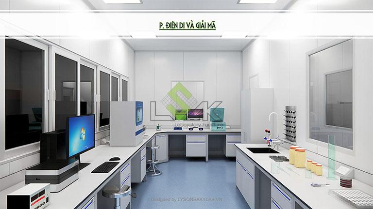 Phối cảnh 3D phòng điện di và giải mã thiết kế phòng thí nghiệm sinh học phân tử