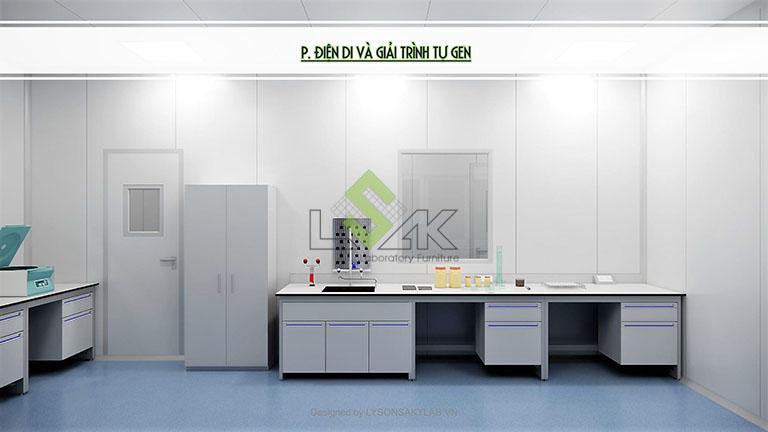 Phối cảnh 3D phòng điện di và giải trình tự gen thiết kế phòng thí nghiệm sinh học phân tử