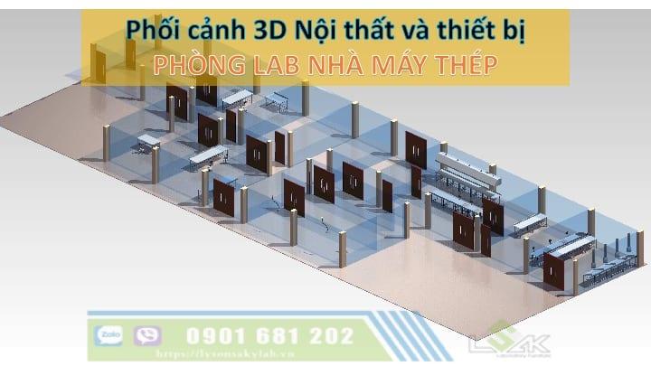 Phối cảnh 3D nội thất và thiết bị phòng Lab nhà máy thép