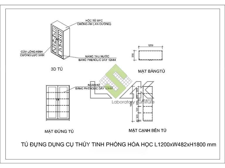 Bản vẽ Cad 2d tủ đựng dụng cụ thủy tinh phòng thí nghiệm
