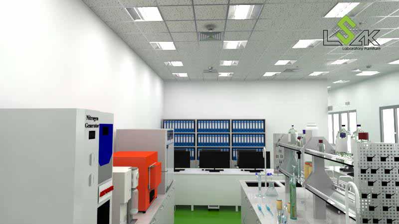mặt bàn thí nghiệm đá granite trắng, tủ thép sơn tĩnh điện