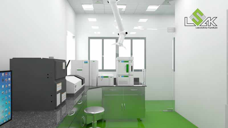 Bàn thí nghiệm áp tường phòng QA/QC nhà máy dược phẩm