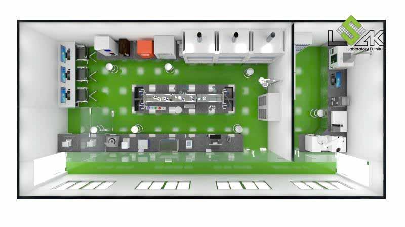 Phối cảnh 3D thiết kế nội thất phòng QA/QC nhà máy dược phẩm