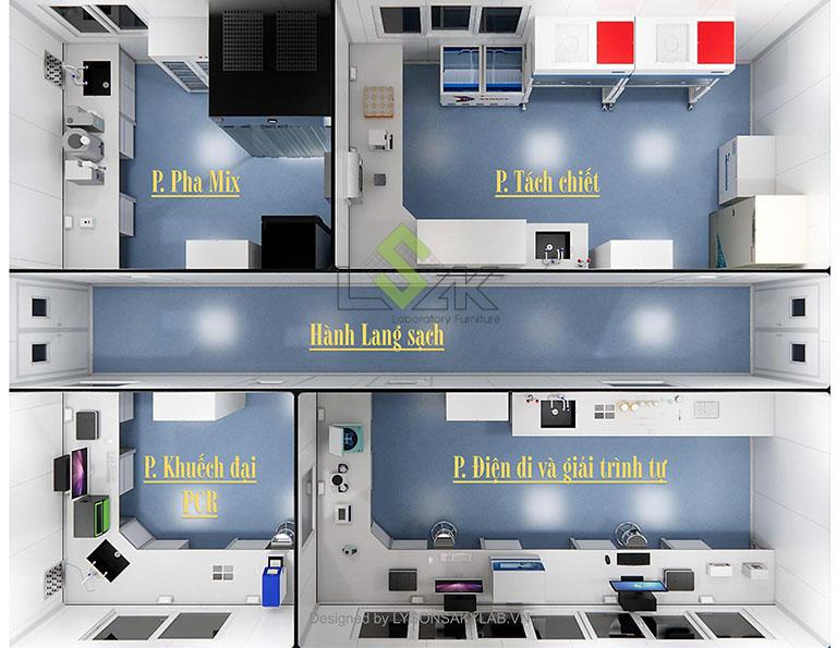 Phối cảnh 3D thiết kế phòng thí nghiệm sinh học phân tử