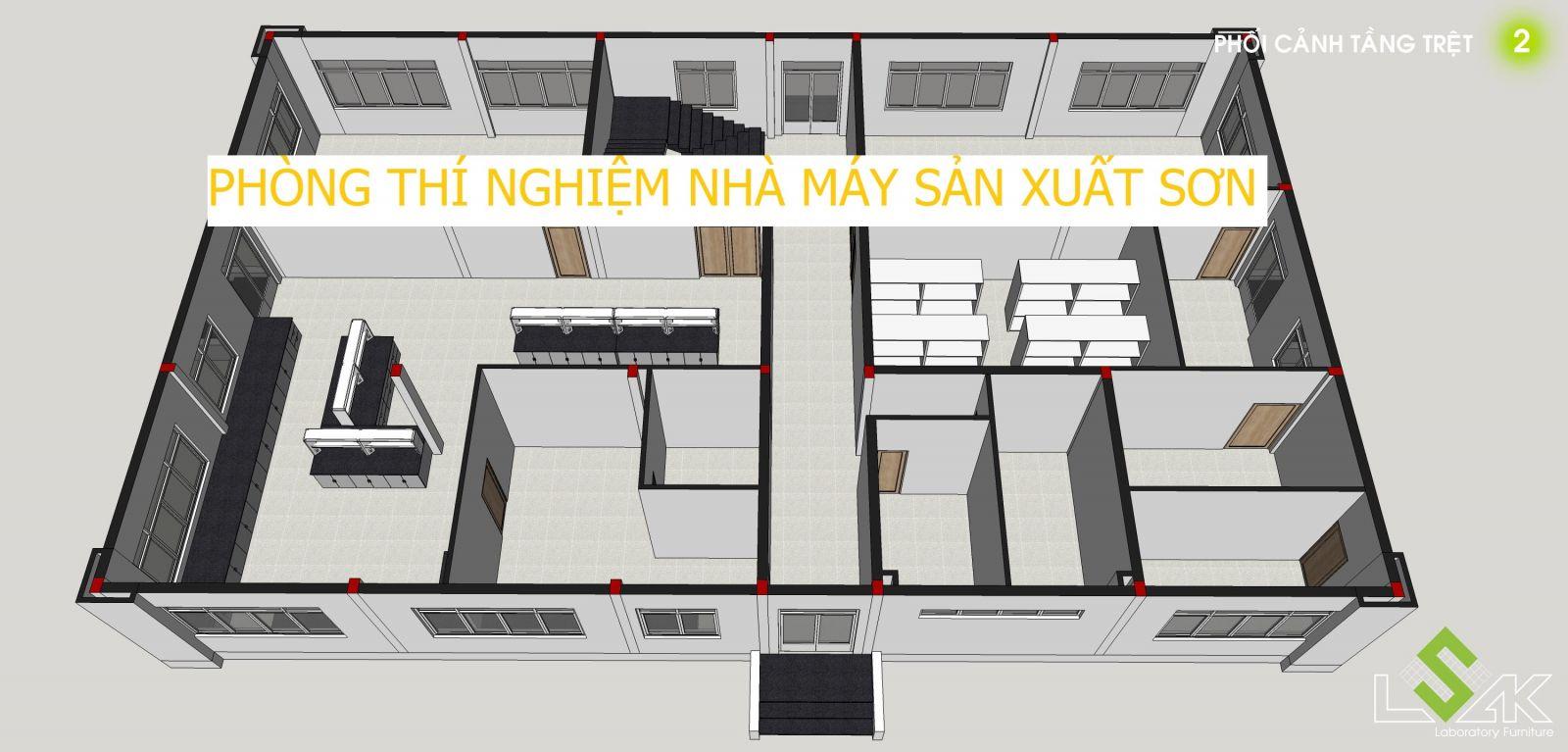 Mô hình 3D phòng thí nghiệm nhà máy sơn Đông Á tại Long An.