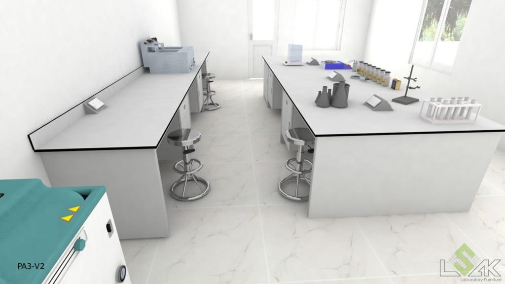 Thiết kế dãy bàn thí nghiệm áp tường và trung tâm phòng thí nghiệm nước tẩy giặt