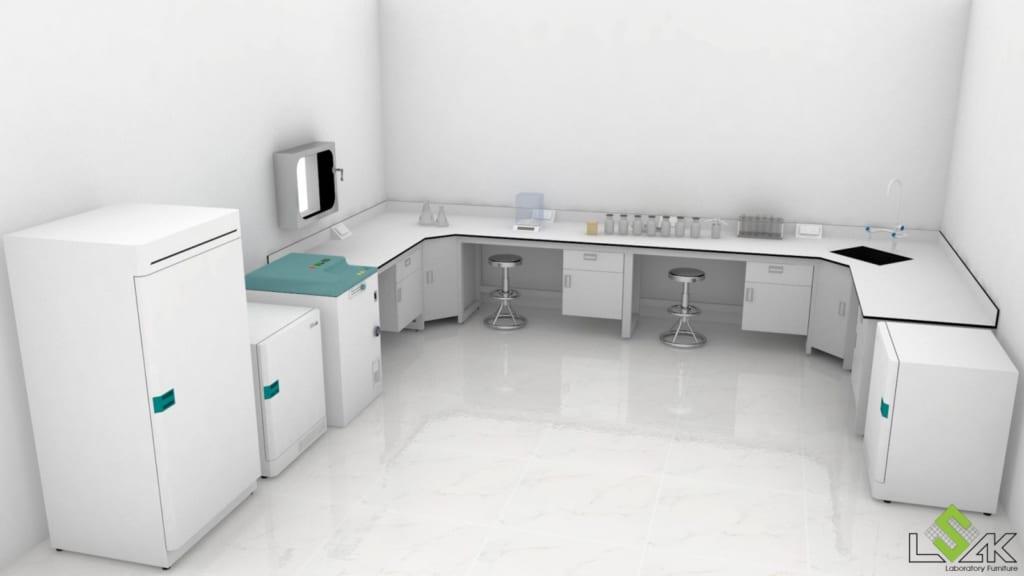 Thiết kế dãy bàn thí nghiệm áp tường phòng thí nghiệm nước tẩy giặt