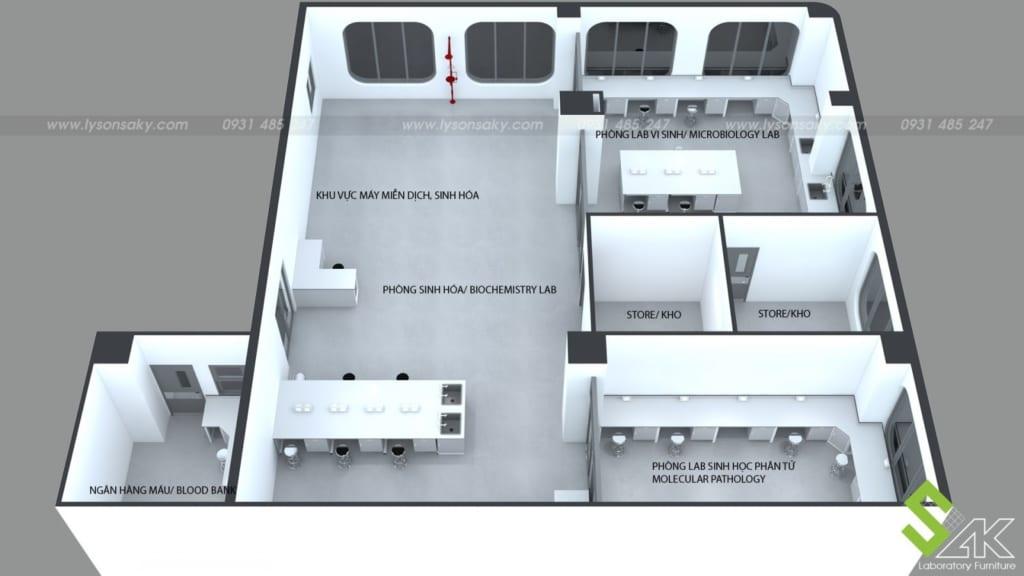 Thiết kế phòng xét nghiệm bệnh viện Quốc tế Mỹ - AIH