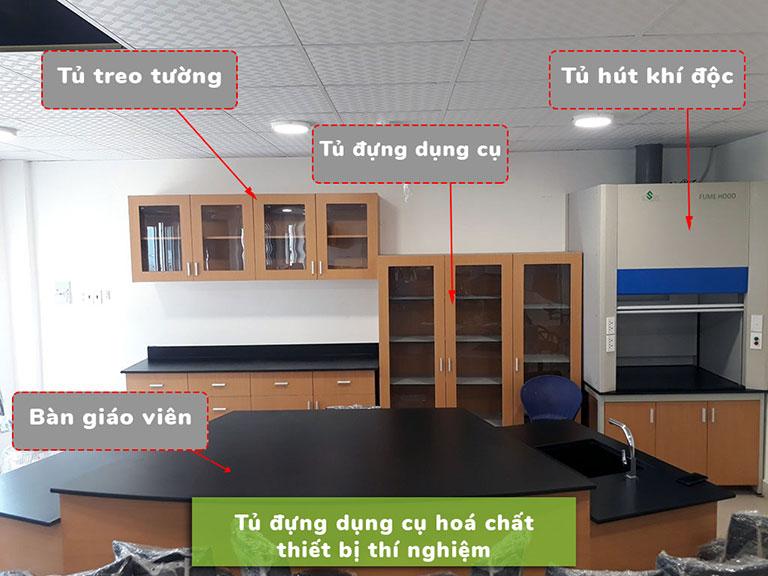 Tủ đựng dụng cụ hóa chất thiết bị thí nghiệm trường học